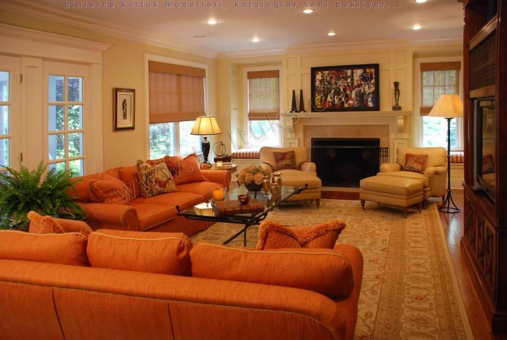 Burnt orange Living Room Decor Turuncu Renk Koltuk Takımı