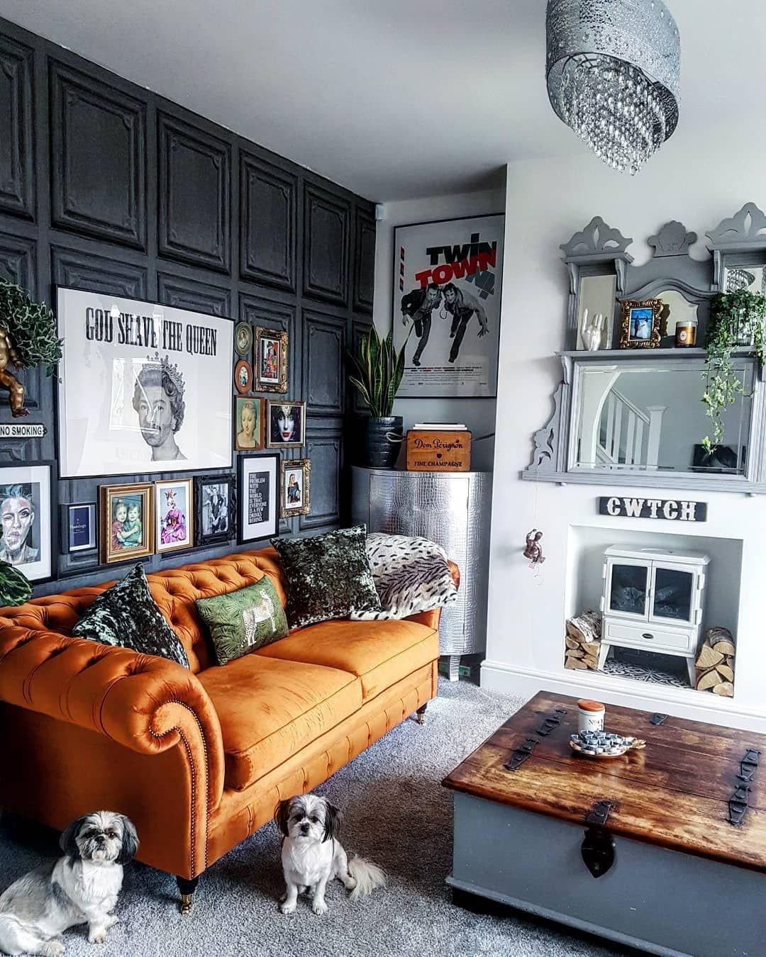 Burnt orange Living Room Decor What An Amazing Living Room Love the Burnt orange sofa