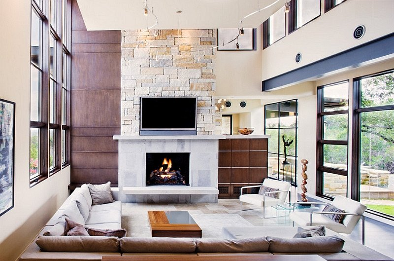 Casual Comfortable Living Room Tv Fireplace Design Ideas