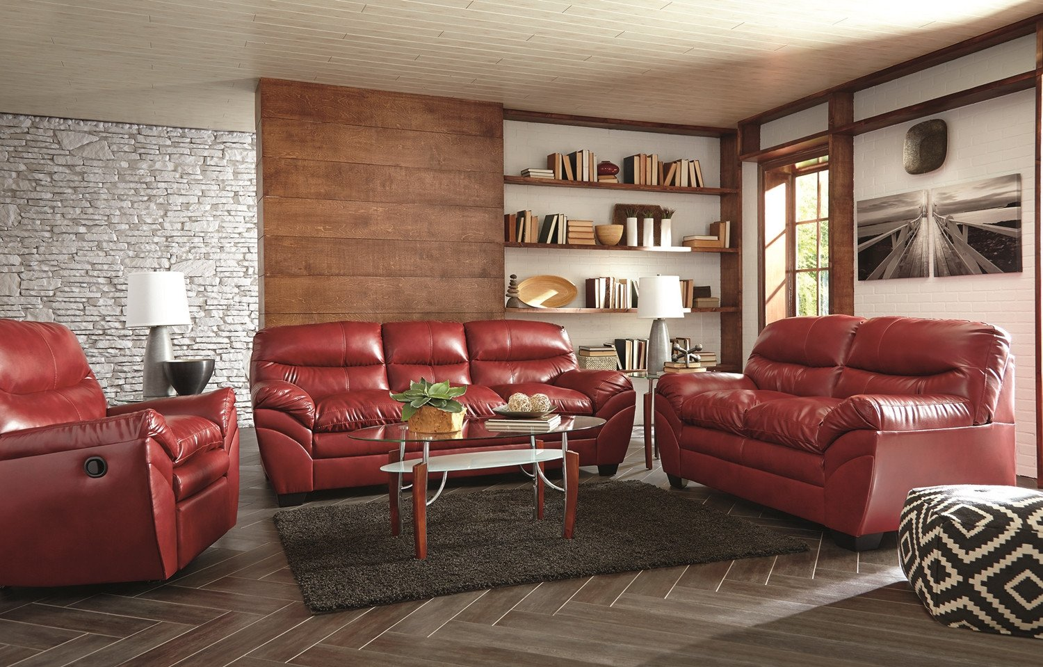 Casual Contemporary Living Room Casual Contemporary Red Bonded Leather sofa Set Living