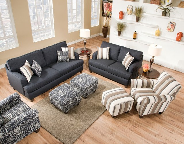 Casual Contemporary Living Room Omega Denim Collection with Casual Flair Contemporary
