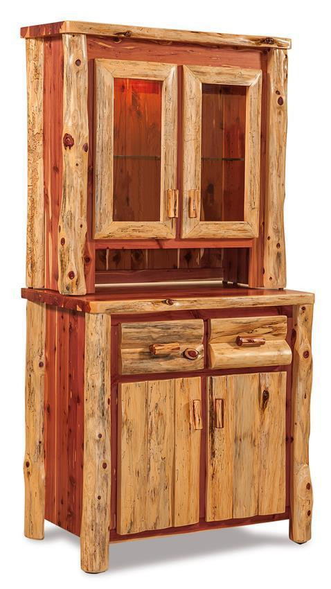 Cedar Log Bedroom Furniture Amish Log Furniture Kitchen Hutch