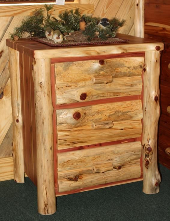 Cedar Log Bedroom Furniture Amish Rustic Cedar Log Night Stand with Slab Front