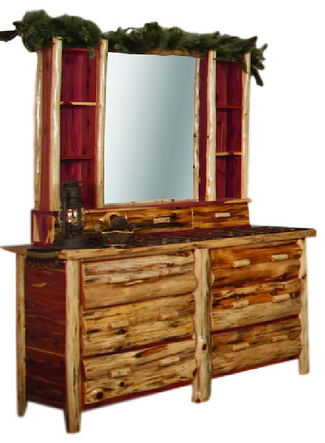 Cedar Log Bedroom Furniture Rustic Red Cedar Log Dresser Hutch with Mirror