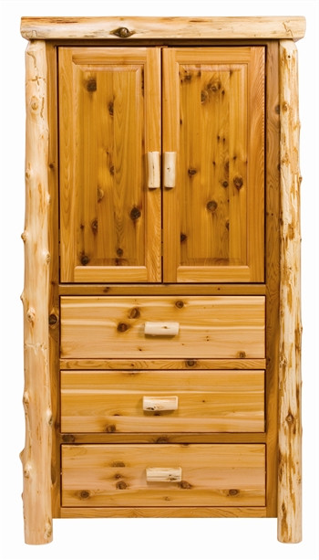 Cedar Log Bedroom Furniture Three Drawer Cedar Log Armoire Minnesota Log Bedroom