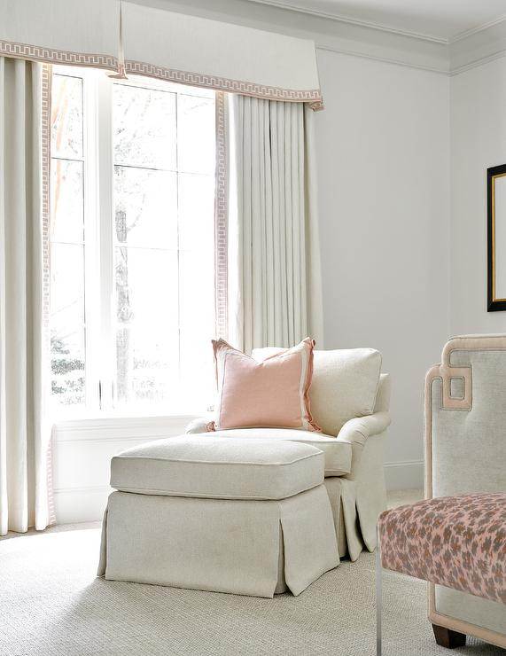 Chaise Chair for Bedroom Ivory Chaise Lounge with Pink Pillow Transitional Bedroom