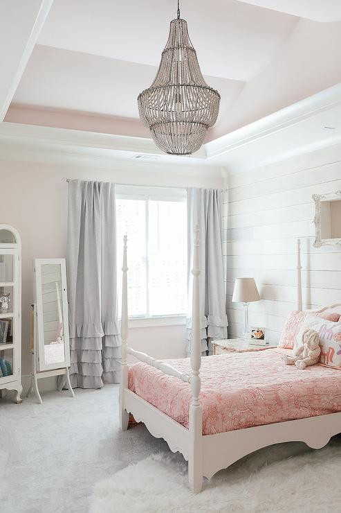 Chandelier for Girls Bedroom Pink Girl Bedroom with Pink Tray Ceiling Transitional