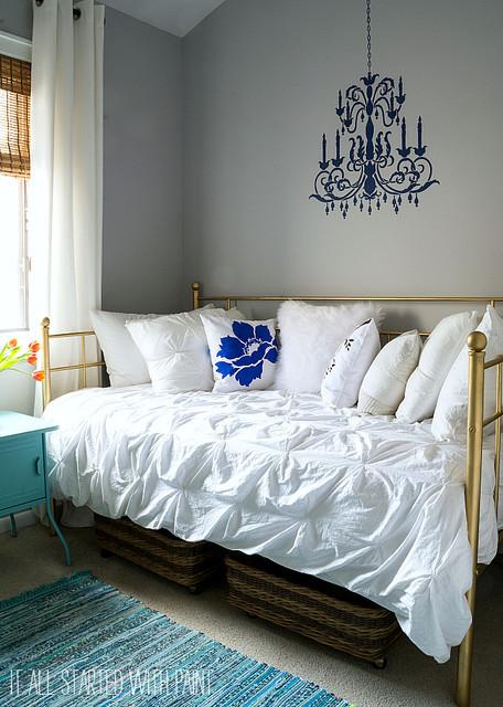 Chandelier for Teenage Girl Bedroom A Chandelier Stenciled Teen Girl Bedroom Transitional