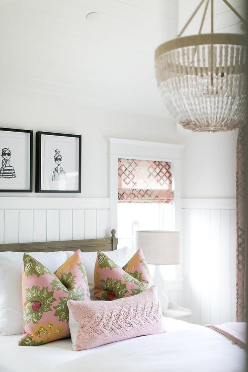 Chandelier for Teenage Girl Bedroom French Girl Sketches Over Gray Wood Kids Bed Transitional