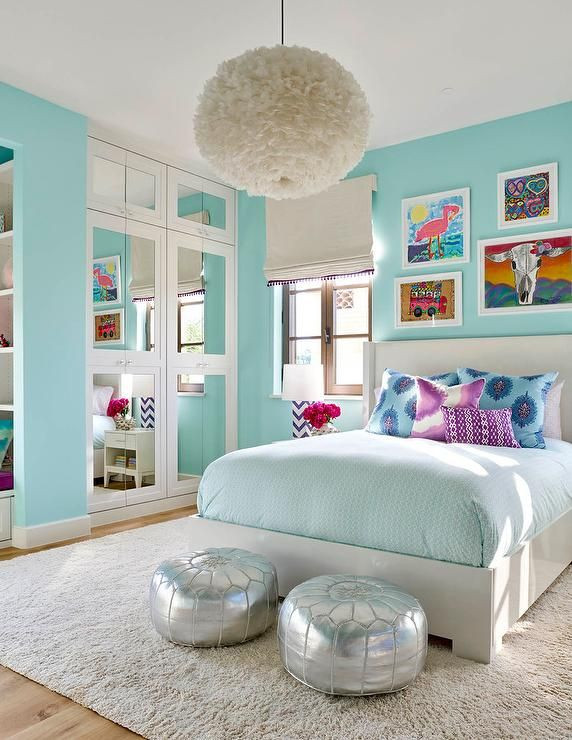 Chandelier for Teenage Girl Bedroom Turquoise Blue Girl S Bedroom Features A White Feather