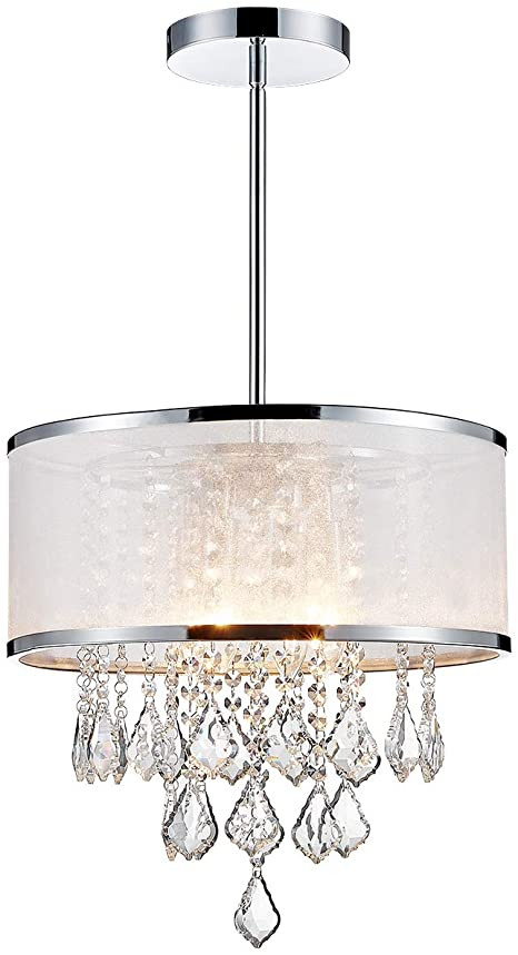 Chandelier Lighting for Bedroom Anjiadengshi Modern K9 Crystal Chandelier Lighting Drum Led Ceiling Chandelier for Dining Room Bedroom Living Room 4 E12 Bulbs Height 14 X Width 16