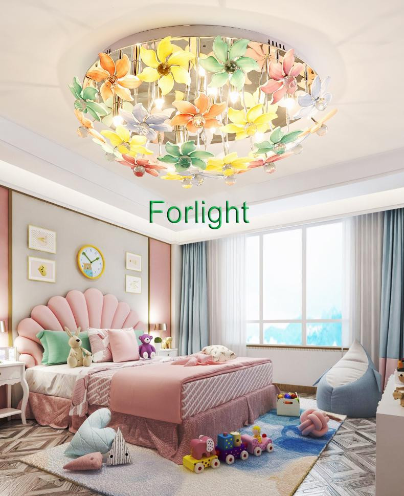 Chandelier Lighting for Bedroom Crystal Chandelier Lighting Colorful Flowers Crystal Round Chandelier Lamp Led Ceiling Chandeliers Lights for Bedroom Corridor Long Chandelier Simple