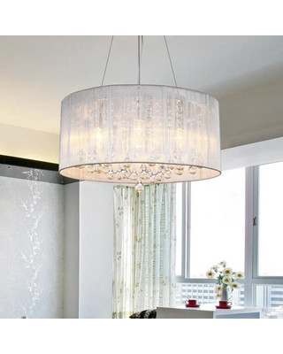 Chandelier Lighting for Bedroom Musif Modern White Drum Dangling Pendant Light Shade Crystal Ceiling Lamp Chandelier Fixture Lighting Bedroom Crystal Chandelier Table Lamp From