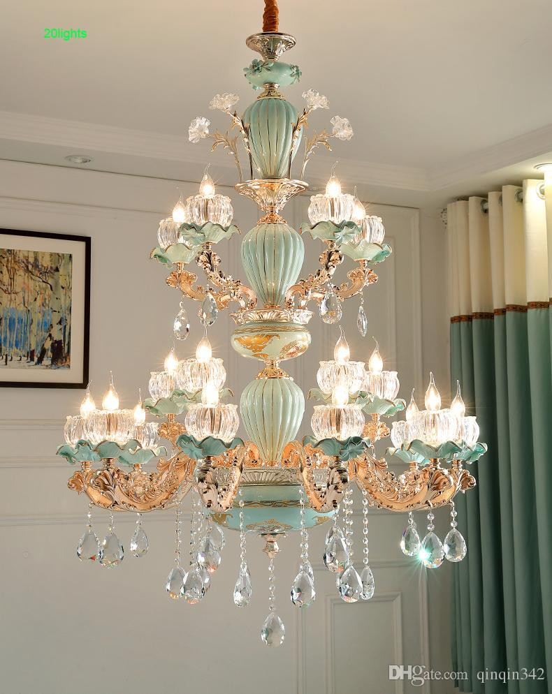 Chandelier Lighting for Bedroom nordic Chandelier Lustre Cristal Blue Ceramic Chandeliers Light Dining Room Crystal Ceiling Bedroom Lamp Living Room Chandelier Pendant Lighting