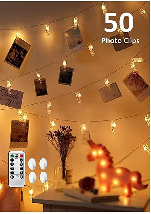 Clip On Bedroom Light Cadnly String Lights with Clips 50 Led Clip Polaroid Lights for Bedroom Wall Hanging Fairy Lights Teen Girls Dorm Room Decor Clip