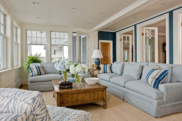 Coastal Comfortable Living Room Marblehead Coastal Home Beach Style Family Room