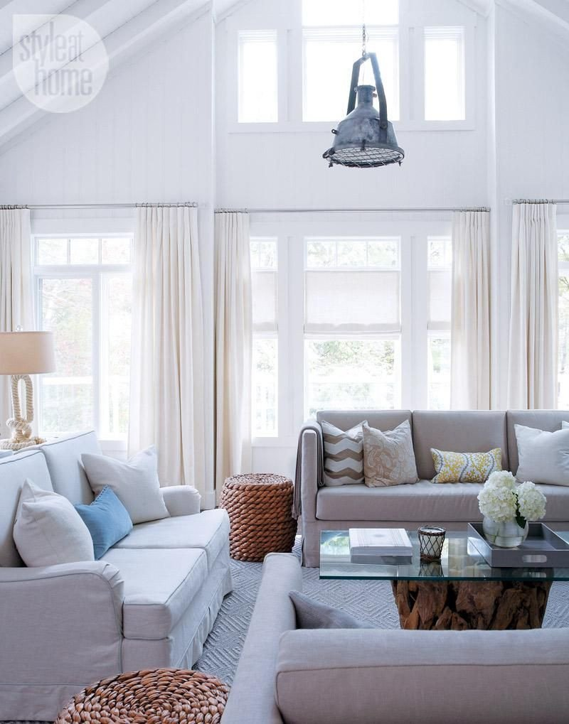 Comfortable Bungalow Living Room House tour Neutral Pale Cottage Retreat
