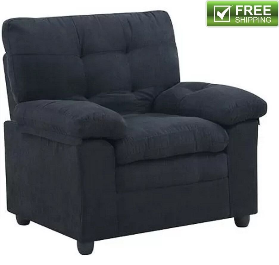Comfortable Chairs Living Room Microfiber Armchair Black fortable soft Padded Living