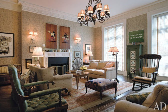 Comfortable formal Living Room tour Woody Allen S English Country–style Manhattan