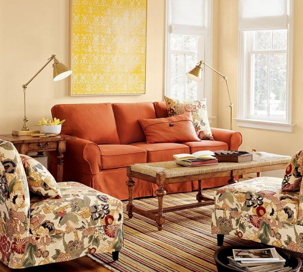 Comfortable Living Family Room How to Adorn Your Interior with orange sofa