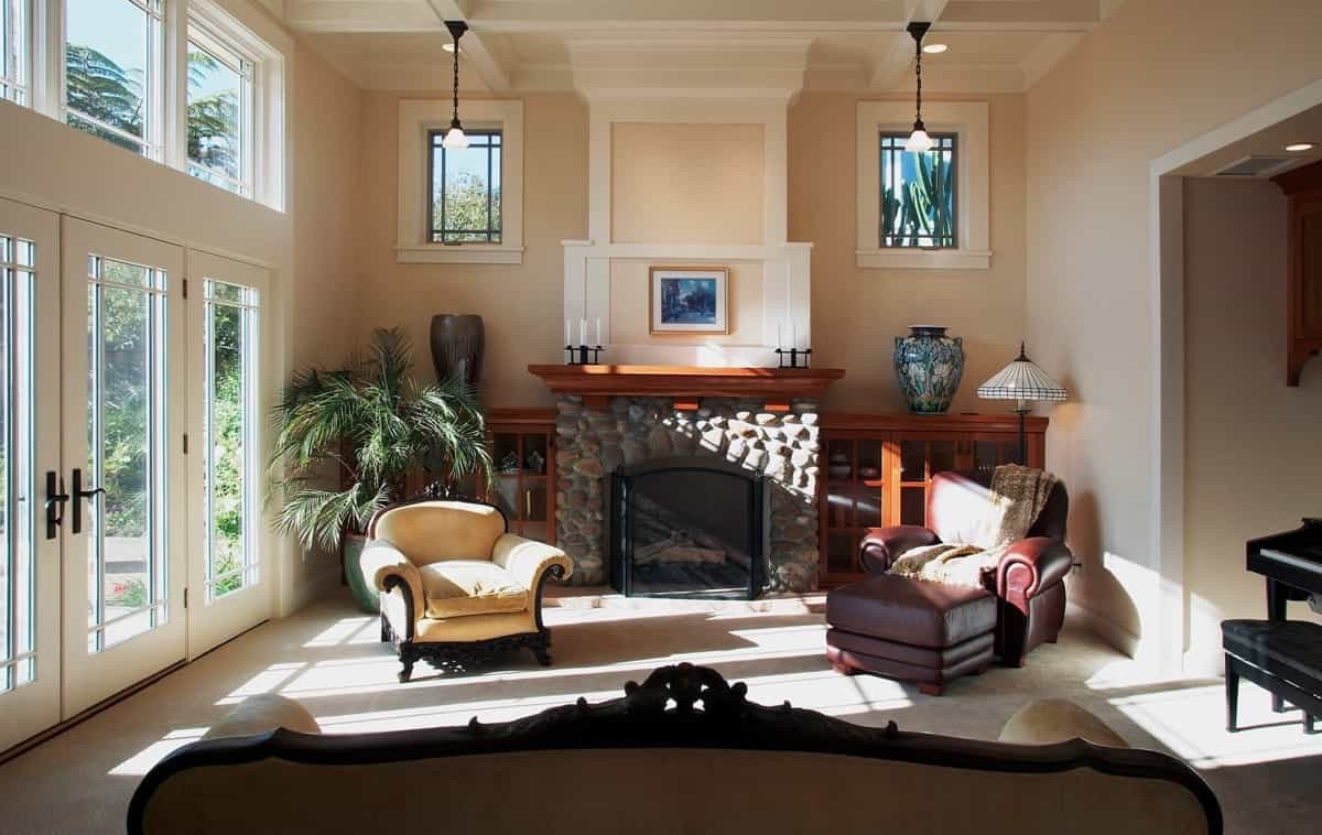 Comfortable Living Room Fireplace fortable Craftsman Living Room with Rustic Fireplace