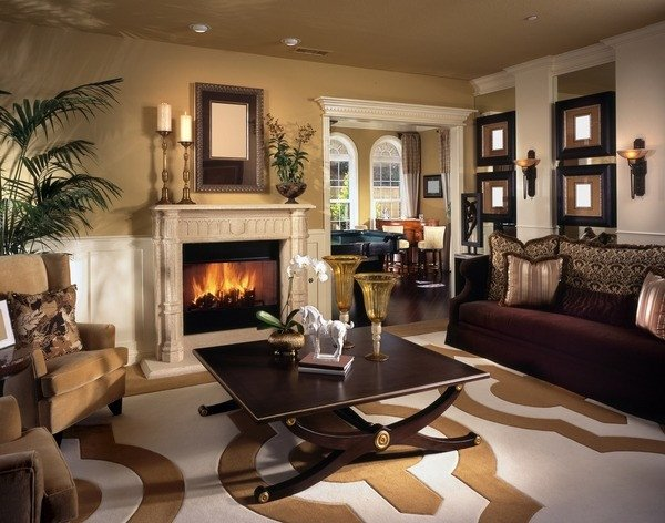 Comfortable Living Room Fireplace Living Room Design Ideas In Brown and Beige 50 Fabulous