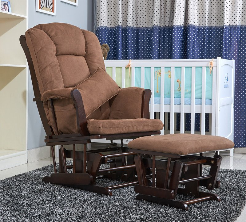 Comfortable Living Room Furniture American Wood Rocking Chair Glider Rocker and Ottoman Set