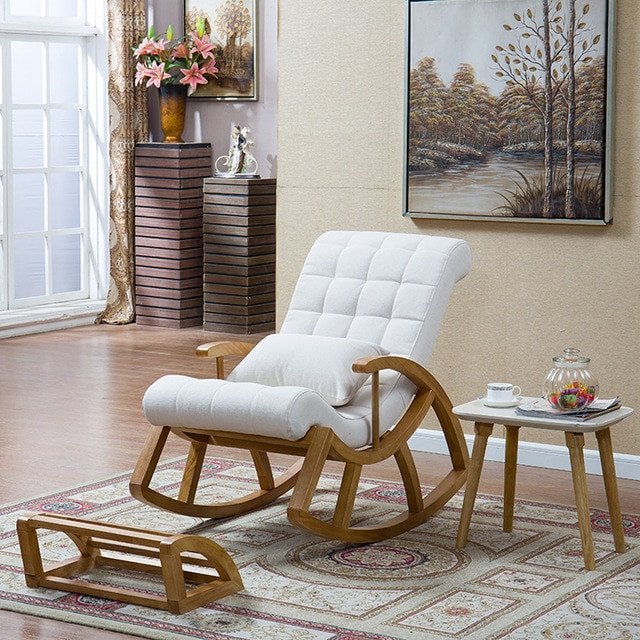 Comfortable Living Room Furniture Wood Rocking Chair Glider Rocker and Ottoman Set Living