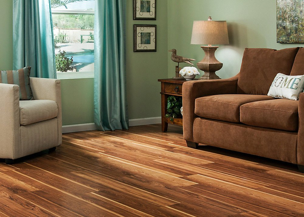 Comfortable Living Room Hickory Floor Dream Home 10mm Pad Hot Springs Hickory Laminate