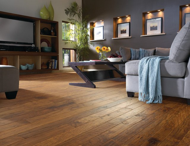 Comfortable Living Room Hickory Floor Hickory Wood Floor Living Room Contemporary Living
