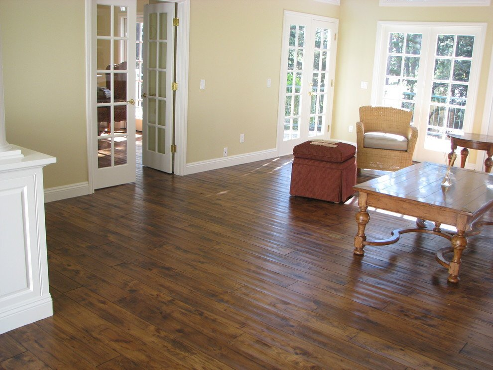 Comfortable Living Room Hickory Floor High Back sofas Family Room Contemporary with Banquette