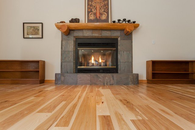 Comfortable Living Room Hickory Floor Natural Hickory Hardwood Floors Traditional Living