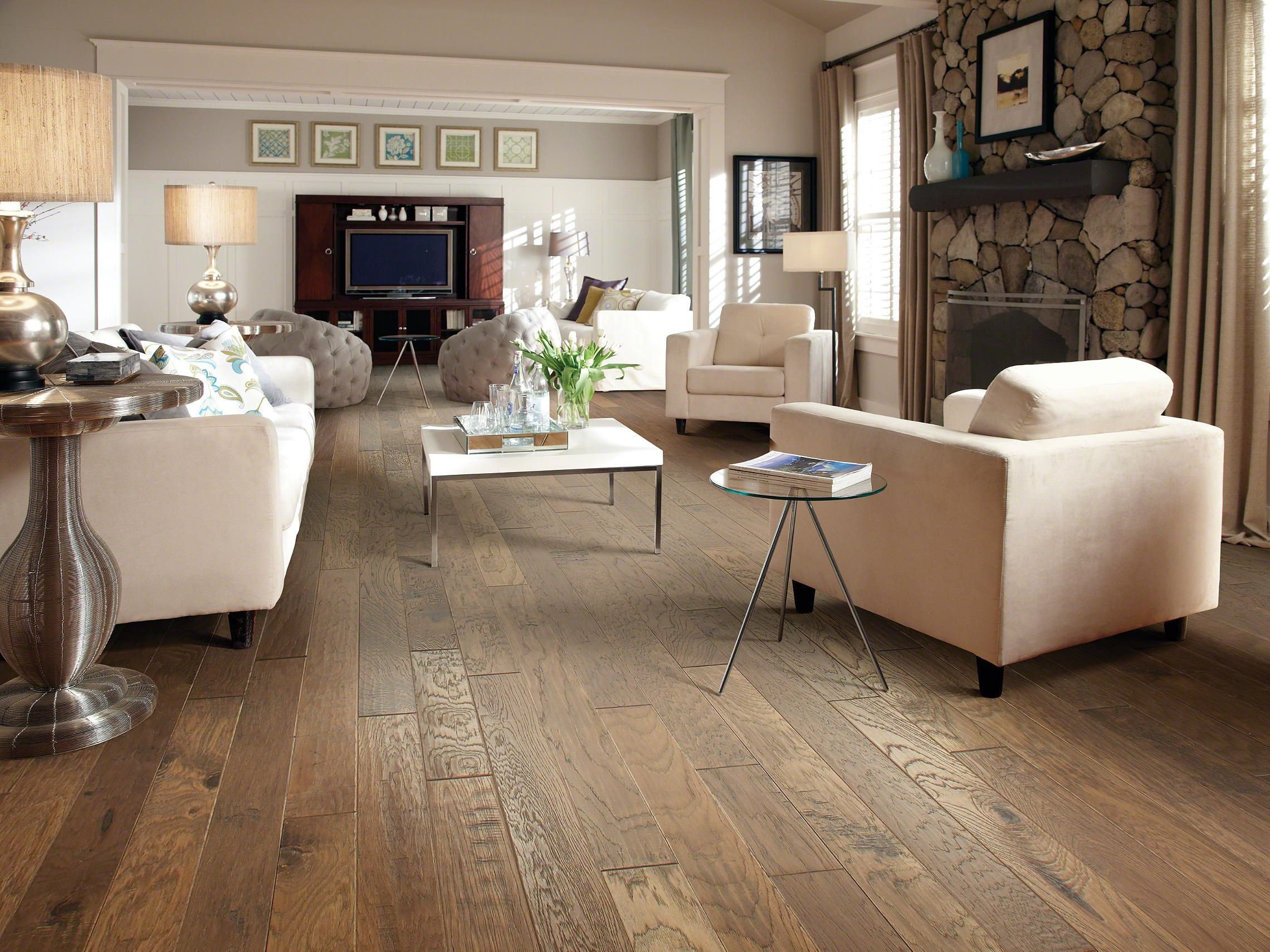 Comfortable Living Room Hickory Floor Sequoia Hickory 5 Pacific Crest Room View