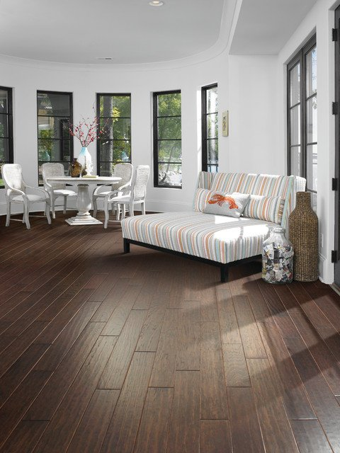 Comfortable Living Room Hickory Floor Waterfront Round Sun Room with Kingwood Hickory Floors