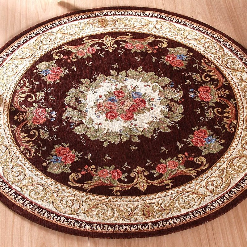 Comfortable Living Room Rugs Round Jacquard Carpet Water Absorption Floor Rug solid