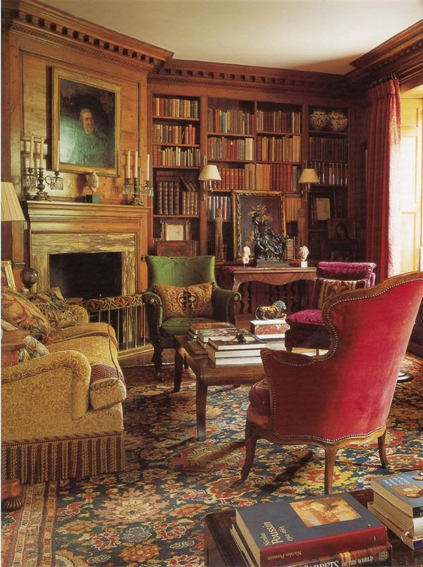 Comfortable Living Room Victorian Victorian Home Library