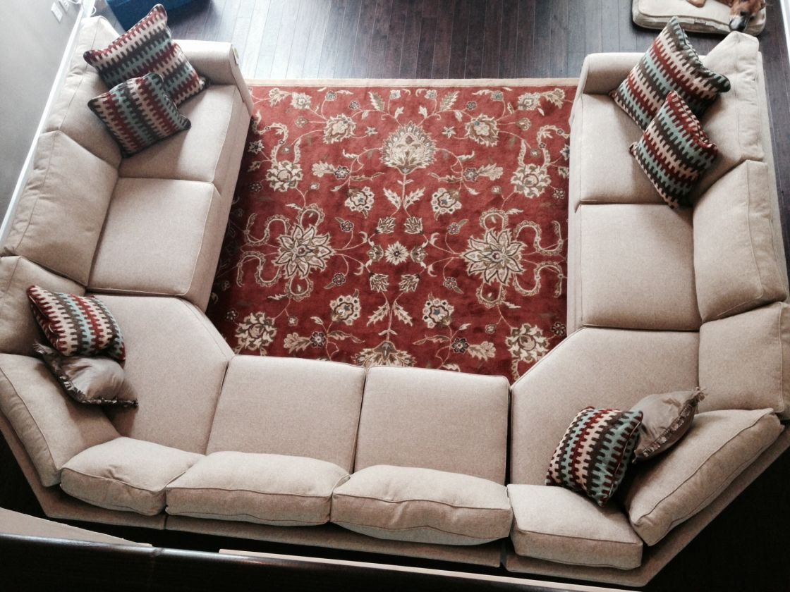 Comfortable Living Roomcouch Extraordinary Beige Fabric U Shaped Sectional sofa for