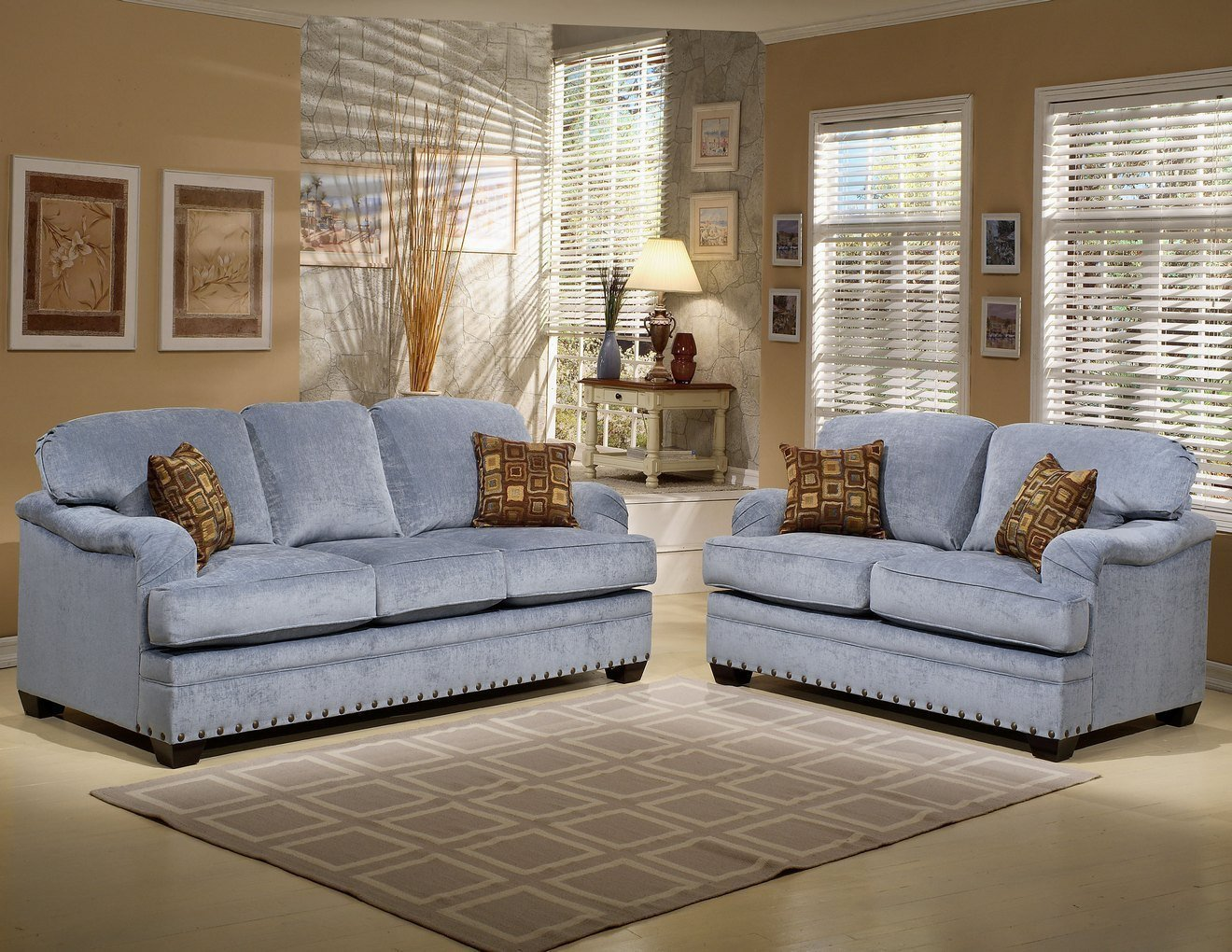 Comfortable Living Roomcouch fortable Sleeper sofa Classic Blue Microfiber Three