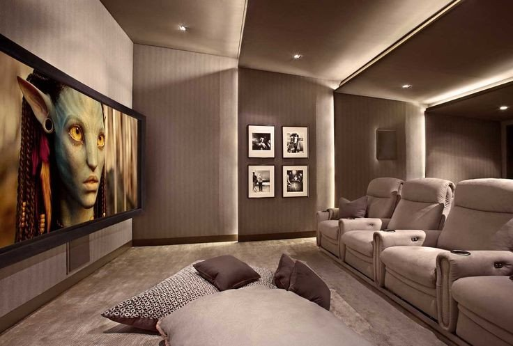 Comfortable Living Roomfor Movie Watching Lower Storey Cinema Room Hometheater Projector Home