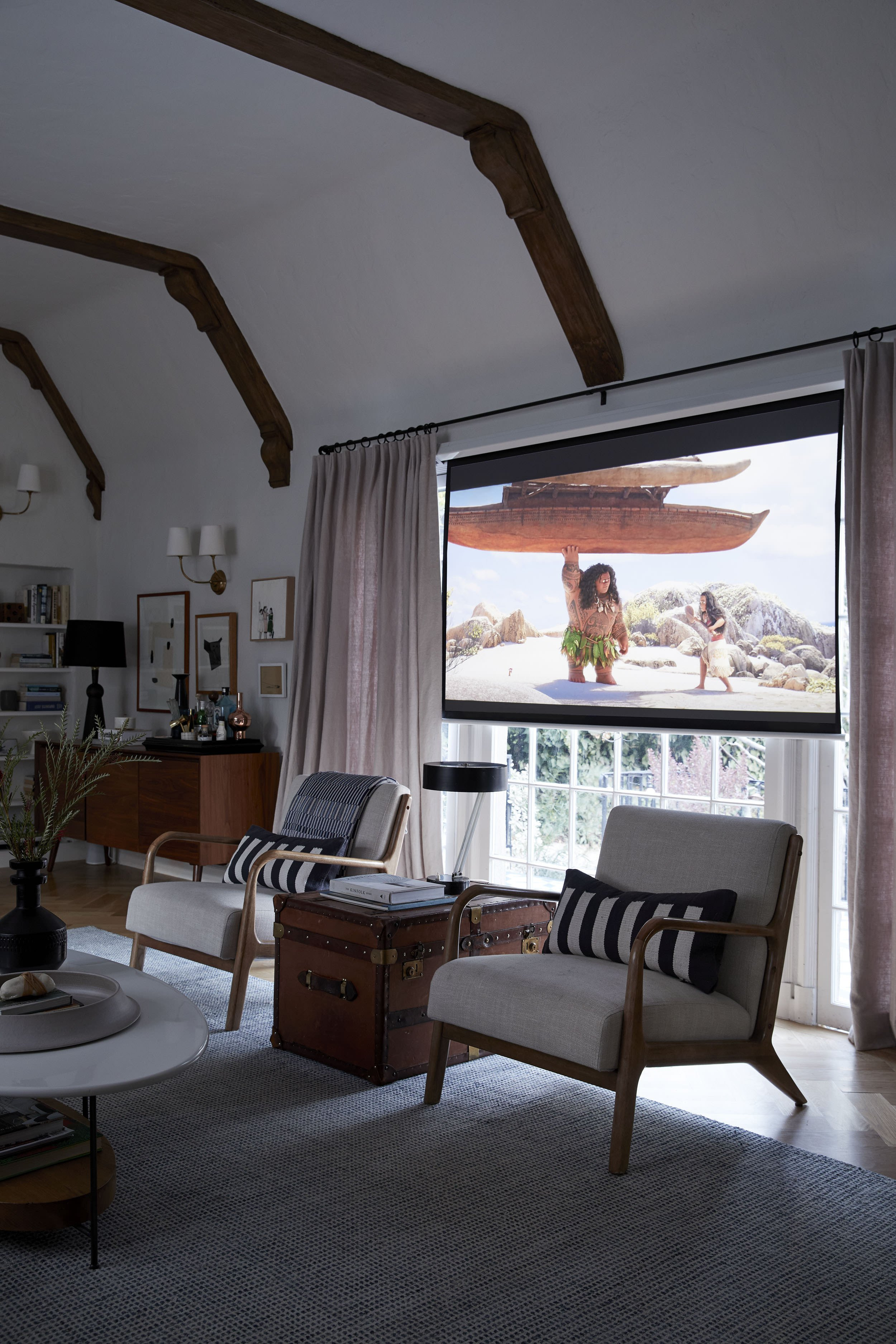 Comfortable Living Roomfor Movie Watching Our New Hidden Living Room Projector System Emily
