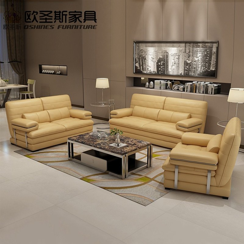 Comfortable Open Living Room 2017 New Design Italy Modern Leather sofa soft
