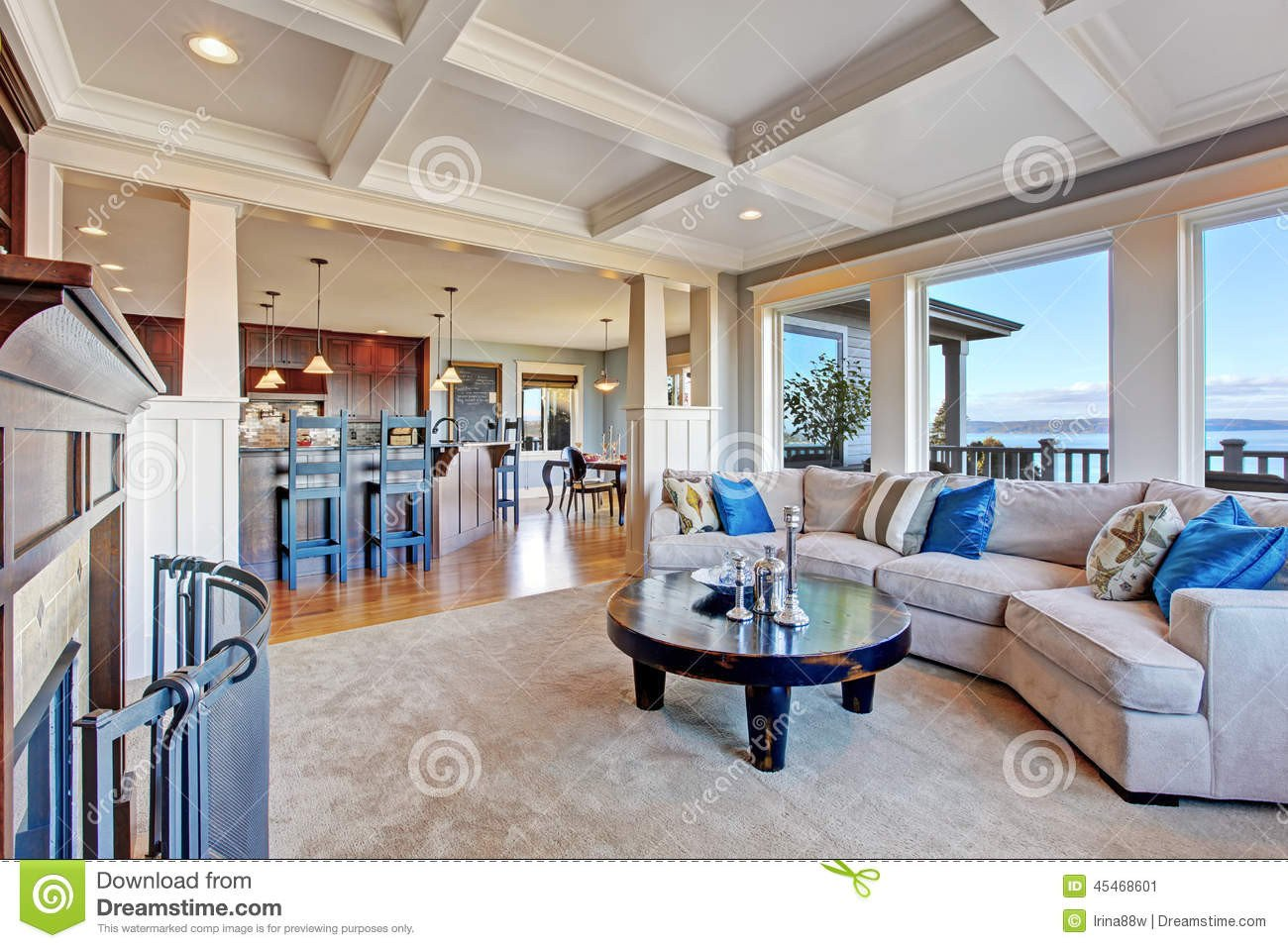 Comfortable Open Living Room Luxury House with Open Floor Plan Coffered Ceiling