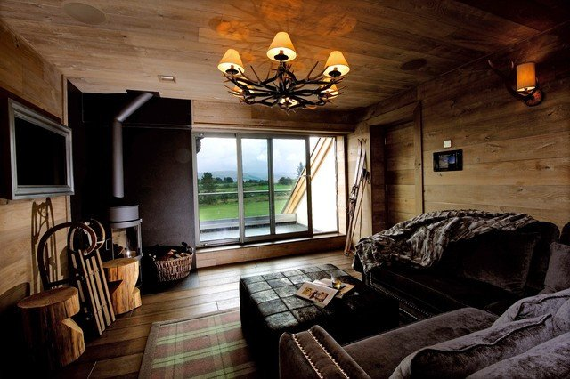 Comfortable Rustic Living Room Snug with A Cosy Feel Wood Panelled Walls Log Burner and