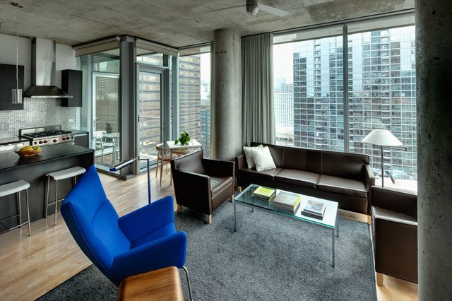 Contemporary Apartment Living Room High Rise Apartment Contemporary Living Room Chicago
