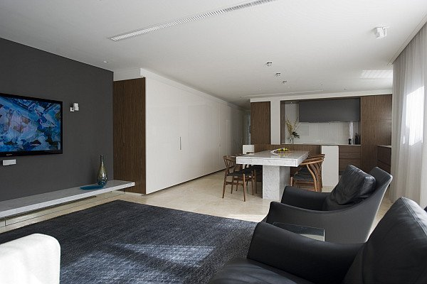 Contemporary Apartment Living Room Small Space solutions Hidden Kitchen From Minosa Design