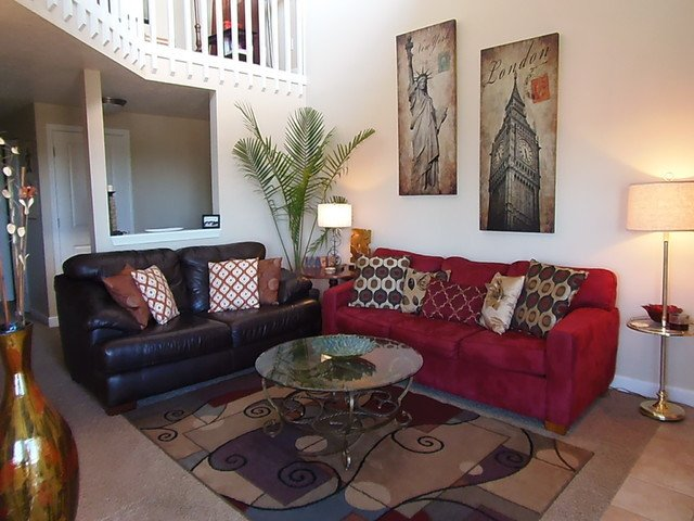 Contemporary Brown Living Room Contemporary Living Rooms & Dining Rooms with Red and