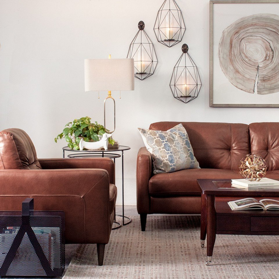 Contemporary Brown Living Room Decorating with Brown Leather Furniture Tips for A