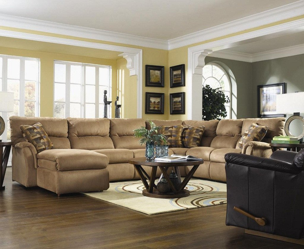 Contemporary Brown Living Room Living Room Ideas with Sectionals sofa for Small Living