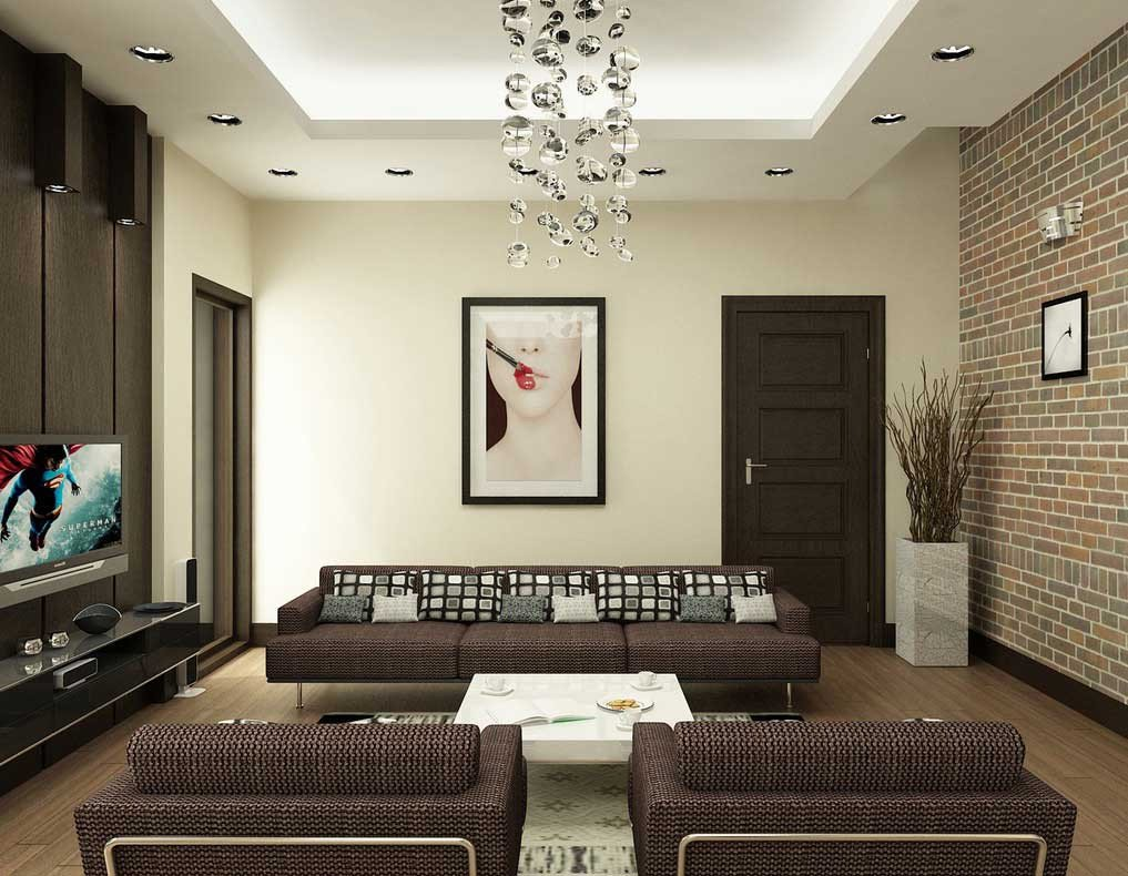 Contemporary Brown Living Room Modern Brown and White Living Room with Brick Wall Decor