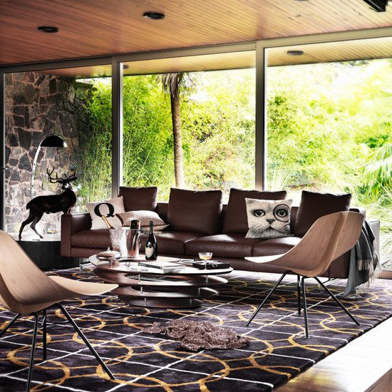 Contemporary Brown Living Room Modern Living Room with Brown Leather sofa
